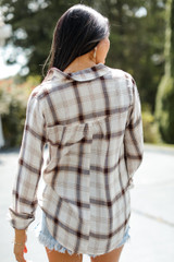 Flannel in White Back View