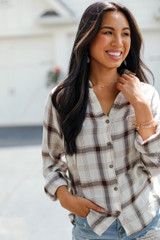 Flannel in White Front View on model