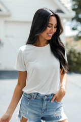 White - Everyday Tee Front View on model