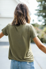 Everyday Tee in Olive Back View