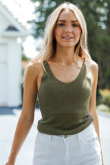 Olive - Model wearing a Knit Tank with white denim