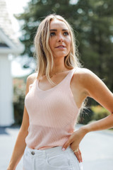 Blush - Model wearing a Knit Tank with white shorts