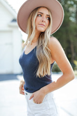 Navy - Dress Up model wearing a Knit Tank with a wide brim hat