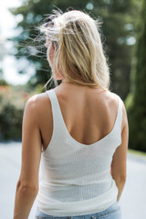 Knit Tank in Ivory Back View