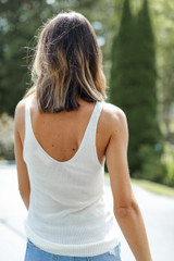 Knit Tank in White Back View
