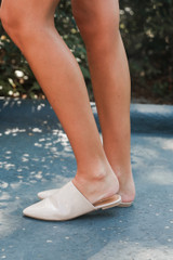 Pointed Toe Mules Side View on model