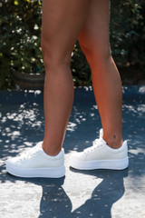Platform Sneakers in White Side View
