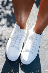 Platform Sneakers in White Top View