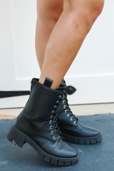 Combat Boots in Black Side View