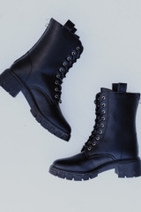 Flat Lay of Combat Boots in Black