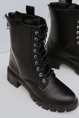 Combat Boots in Black Front View