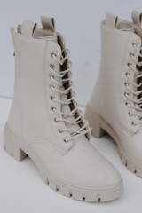 Combat Boots in Ivory Front View