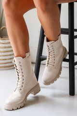 Ivory - Model wearing Combat Boots
