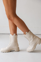 Combat Boots in Ivory Side View on model