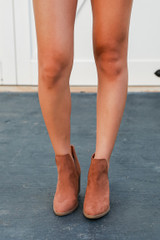 Ankle Booties in Camel Front View