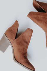 Camel -Flat Lay of Ankle Booties in Camel