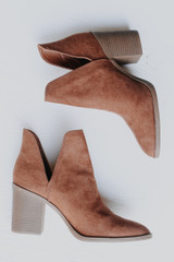 Ankle Booties in Camel on a white background