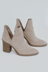 Flat Lay of Ankle Booties in Taupe