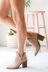 Taupe - Model wearing Ankle Booties