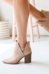 Ankle Booties in Taupe Side View