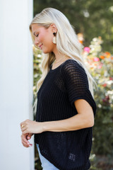 Loose Knit Sweater Top in Black Side View