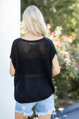 Loose Knit Sweater Top in Black Back View