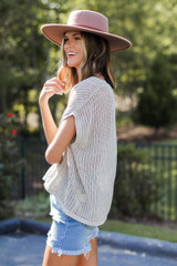 Loose Knit Sweater Top in Tan Side View