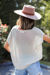 Loose Knit Sweater Top in Tan Back View