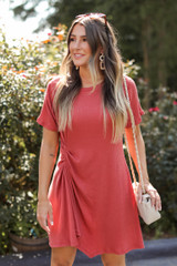Rust - Ruched Dress