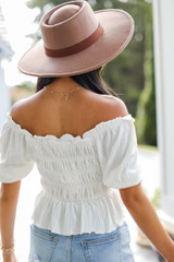 Smocked Blouse in White Back View