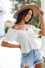 Smocked Blouse in White Side View