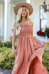 Rust - Smocked Maxi Dress from Dress Up