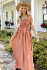 Smocked Maxi Dress Front View on model
