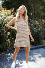Model wearing a Striped Ruched Dress