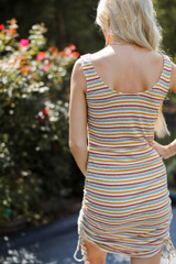 Striped Ruched Dress Back View