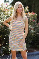 Striped Ruched Dress Front View