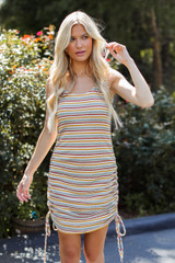 Dress Up model wearing a Striped Ruched Dress