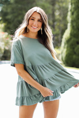 Olive - Model wearing a Tiered Babydoll Top