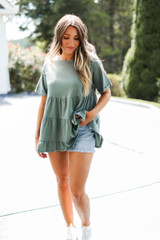 Olive - Dress Up model wearing a Tiered Babydoll Top