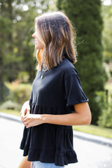 Tiered Babydoll Top in Black Side View