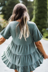 Tiered Babydoll Top in Olive Back View