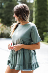 Tiered Babydoll Top in Olive Side View