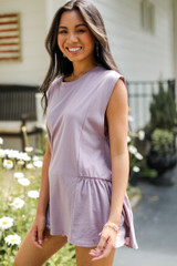 Ruffle Tank in Lilac Side View