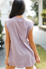 Ruffle Tank in Lilac Back View
