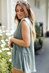 Ruffle Tank in Olive Side View