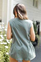 Ruffle Tank in Olive Back View