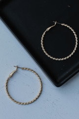 Gold - Textured Small Hoops from Dress Up