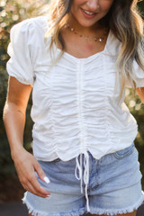 White - Ruched Blouse from Dress Up