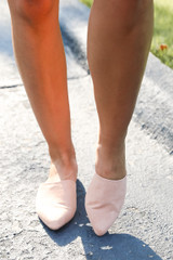 Model wearing Pointed Toe Mules