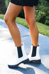 Chelsea Boots in White Side View